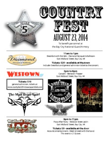 Country Fest 2014 Bay City, MI - Saturday, August 23rd 2014 at 1:00 PM 50 tickets donated
