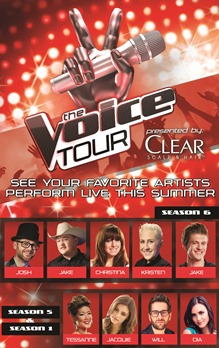 The Voice Tour San Jose, CA - Wednesday, July 30th 2014 at 7:30 PM 60 tickets donated