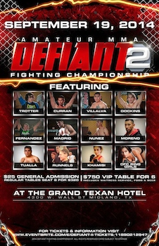 Defiant Fighting Championship 2 - Fight Table Seating - Mixed Martial Arts - Friday Midland, TX - Friday, September 19th 2014 at 7:30 PM 8 tickets donated