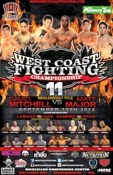West Coast Fighting Championship 11 - Mixed Martial Arts - Saturday North Highlands, CA - Saturday, September 13th 2014 at 6:00 PM 50 tickets donated