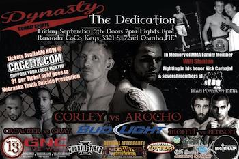 Dynasty Combat Sports 9: the Dedication - Mixed Martial Arts - Friday Omaha, NE - Friday, September 5th 2014 at 8:00 PM 20 tickets donated