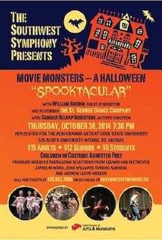 Movie Monsters - a Halloween Spooktacular - Presented by the Southwest Symphony Orchestra - Thursday Saint George, UT - Thursday, October 30th 2014 at 7:30 PM 20 tickets donated
