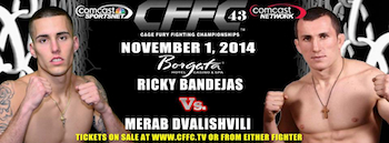 Cffc 43 - Mixed Martial Arts - Presented by Cage Fury Fighting Championships - Saturday Atlantic City, NJ - Saturday, November 1st 2014 at 6:00 PM 100 tickets donated