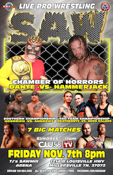 Chamber of Horrors Steel Cage Match - Live Pro Wrestling - Presented by Southern All Star Wrestling - Friday Millersville, TN - Friday, November 7th 2014 at 8:00 PM 20 tickets donated