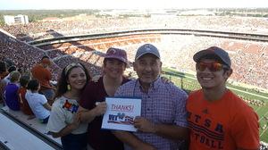 John attended University of Texas Longhorns vs. Baylor - NCAA Football on Oct 29th 2016 via VetTix
