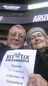 Ronald attended Arizona Coyotes vs. New York Islanders - NHL - All Tickets in Lower Level on Jan 7th 2017 via VetTix