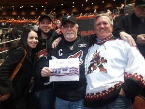 William attended Arizona Coyotes vs. New York Islanders - NHL - All Tickets in Lower Level on Jan 7th 2017 via VetTix