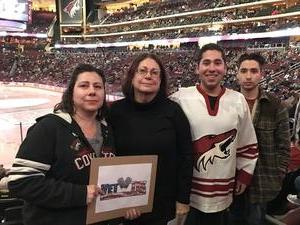 Maurisa attended Arizona Coyotes vs. Vancouver Canucks - NHL - Lower Level Tickets on Jan 26th 2017 via VetTix