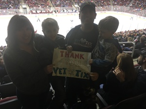 Jared attended Arizona Coyotes vs. Vancouver Canucks - NHL - Lower Level Tickets on Jan 26th 2017 via VetTix