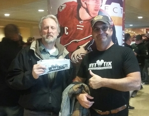 Mark attended Arizona Coyotes vs. Vancouver Canucks - NHL - Lower Level Tickets on Jan 26th 2017 via VetTix