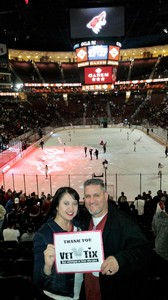Shawn attended Arizona Coyotes vs. Vancouver Canucks - NHL - Lower Level Tickets on Jan 26th 2017 via VetTix