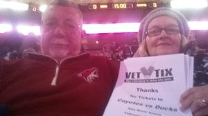 Ronald attended Arizona Coyotes vs. Anaheim Ducks - NHL on Feb 20th 2017 via VetTix