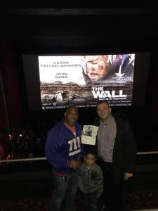 Paul attended The Wall - World Premier With John Cena and Aaron Taylor - Johnson on Apr 27th 2017 via VetTix