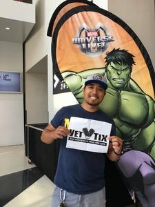 Albert attended Marvel Universe Live! Age of Heroes - Tickets Good for Sunday 3: 00 Pm Show Only on Jul 9th 2017 via VetTix