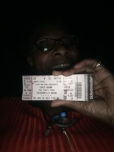 Yolanda attended Chris Brown the Party Tour With Fabolous, O.t Genasis and Kap G on Apr 18th 2017 via VetTix