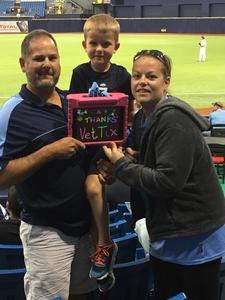 Kelly Andersen attended Tampa Bay Rays vs. Kansas City Royals - MLB on May 9th 2017 via VetTix