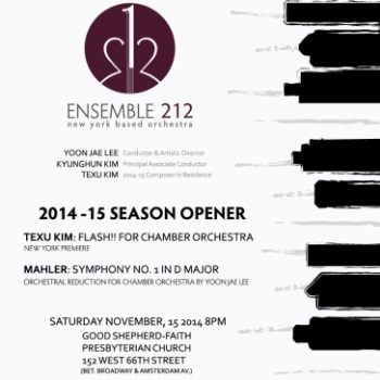 We are giving out 25 tickets to Ensemble 212 New York Based Orchestra 2014-15 Season Opener - Texu Kim & Mahleron Nov 15th 2014