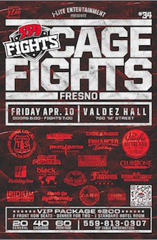 559 Fights - Live MMA Cage Fights - Mixed Martial Arts - Friday Fresno, CA - Friday, April 10th 2015 at 7:00 PM 50 tickets donated