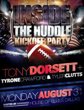 We are giving out 200 tickets to Inside the Huddle - Join Dallas Cowboys, past and present - Tony Dorsett, Tyrone Crawford and Tyler Cluttson Aug 31st 2015