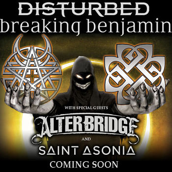 We are giving out 10 tickets to Disturbed and Breaking Benjamin Touron Jul 26th 2016