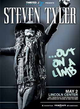 Steven Tyler - Out on a Limb Presented by Twisted J New York, NY - Monday, May 2nd 2016 at 8:00 PM 30 tickets donated