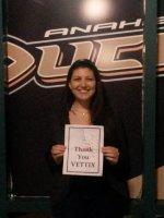 David attended Anaheim Ducks vs Vancouver Canucks - NHL Military Appreciation Night on Nov 10th 2013 via VetTix