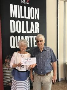 Nancy attended Million Dollar Quartet on Apr 21st 2018 via VetTix