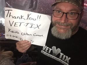 William attended Keith Urban: Graffiti U World Tour - Country on Nov 3rd 2018 via VetTix