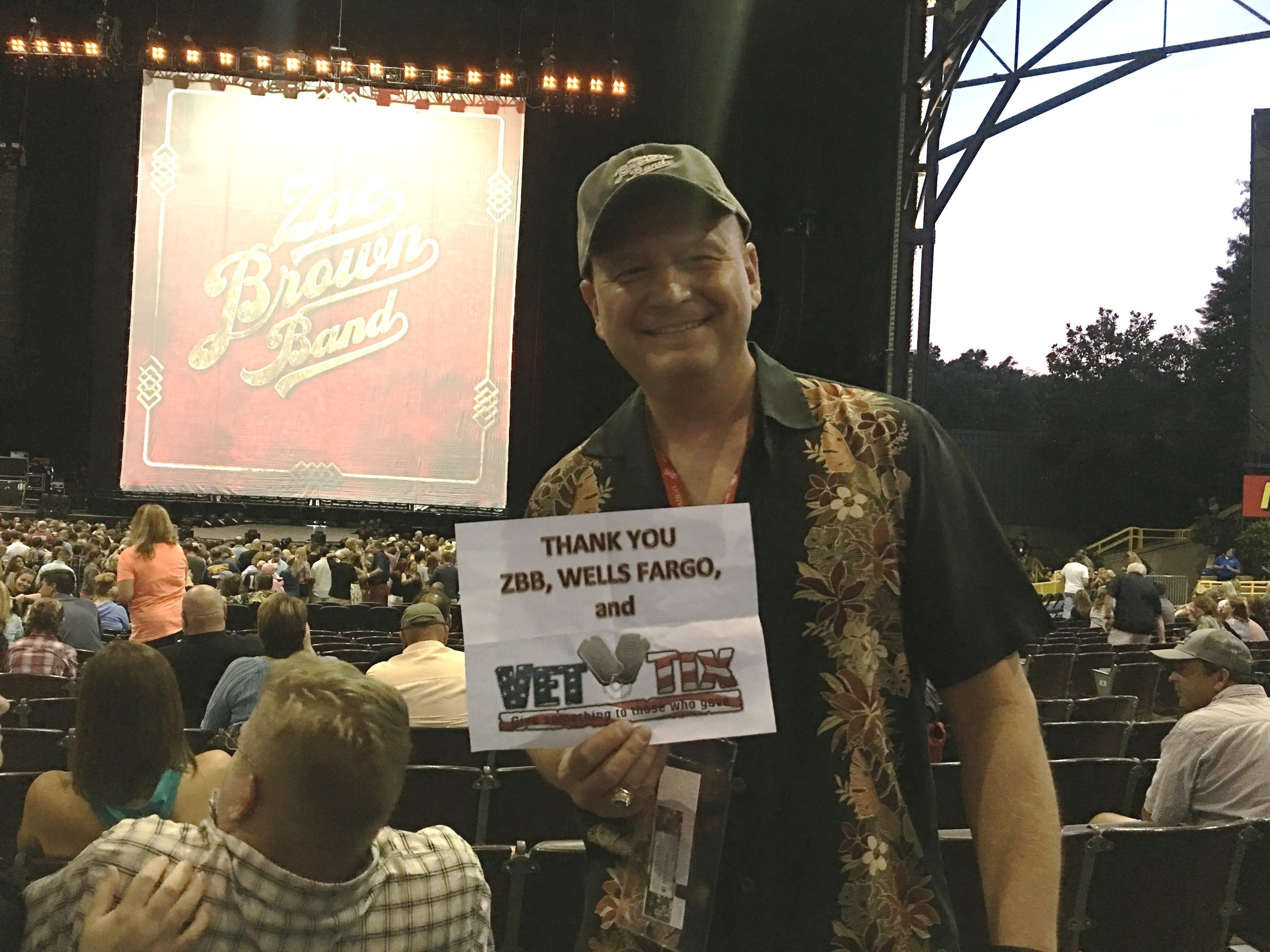 Thank you messages to veteran tickets foundation donors charles attended zac brown band black out the sun tour with meet and greet opportunity m4hsunfo