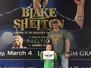 Click To Read More Feedback from Blake Shelton - Doing It to Country Songs Tour - MGM Grand Garden Arena