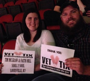 Aaron attended Tim McGraw and Faith Hill - Soul2Soul World Tour - KFC Yum! Center on Apr 28th 2017 via VetTix