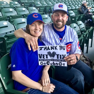 Rob and Renee attended Chicago Cubs vs. Milwaukee Brewers - MLB on Apr 18th 2017 via VetTix