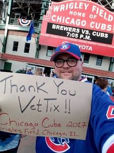 Robb attended Chicago Cubs vs. Milwaukee Brewers - MLB on Apr 18th 2017 via VetTix