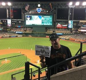 Ryan attended Arizona Diamondbacks vs. San Francisco Giants - MLB on Apr 6th 2017 via VetTix