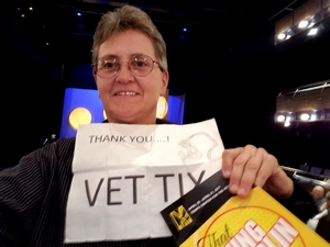 Jacquelyn (Jackie) attended That Irving Berlin Thing - Thursday Evening on Apr 20th 2017 via VetTix