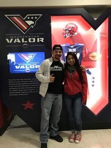 Alfonso attended Washington Valor vs. Philadelphia Soul - AFL on Apr 22nd 2017 via VetTix