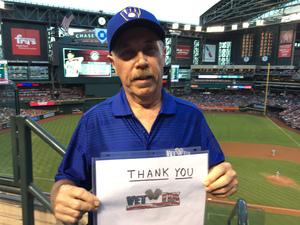 Jim attended Arizona Diamondbacks vs. Milwaukee Brewers - MLB on Jun 10th 2017 via VetTix