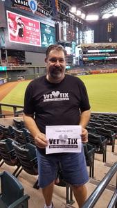 Jeffrey attended Arizona Diamondbacks vs. Los Angeles Dodgers - MLB on Aug 31st 2017 via VetTix