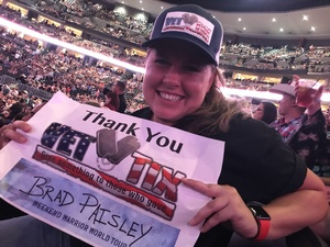 Teresa attended Brad Paisley With Special Guest Dustin Lynch, Chase Bryant, and Lindsay Ell on Jul 15th 2017 via VetTix