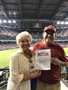 Terry attended Arizona Diamondbacks vs. Los Angeles Dodgers - MLB on Aug 10th 2017 via VetTix