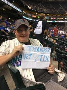 Danae attended Arizona Diamondbacks vs. Los Angeles Dodgers - MLB on Aug 10th 2017 via VetTix