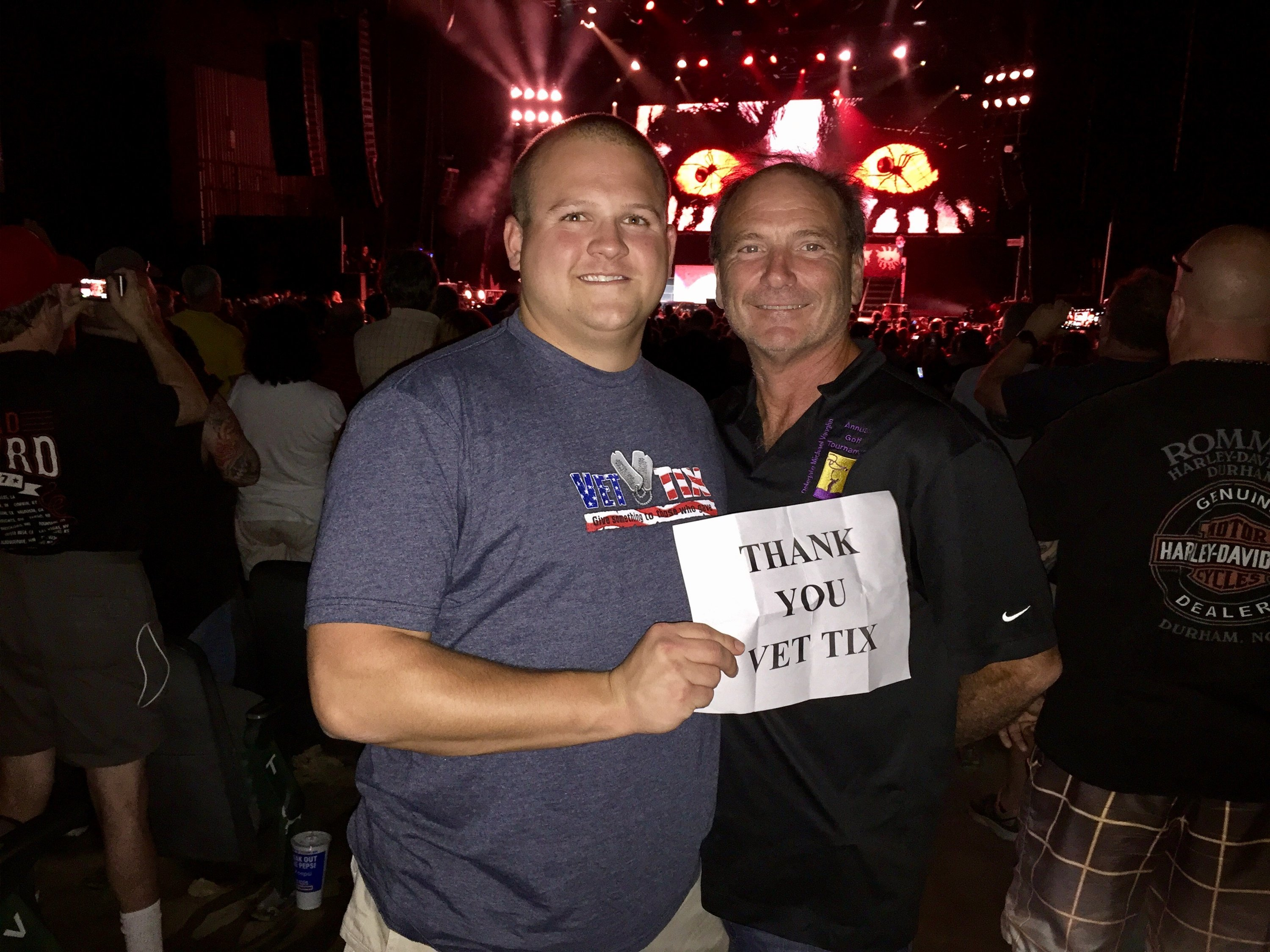 Thank you messages to veteran tickets foundation donors tyler attended deep purple and alice cooper reserved seats on aug 24th 2017 via vettix kristyandbryce Choice Image