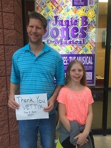 Chad attended Junie B. Jones the Musical on Sep 2nd 2017 via VetTix