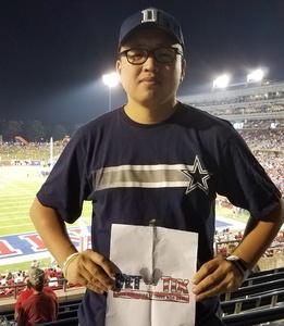 Jason attended Southern Methodist University Mustangs vs. Arkansas State - NCAA Football on Sep 23rd 2017 via VetTix