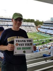 Thomas attended University of North Carolina Tar Heels vs. Notre Dame - NCAA Football on Oct 7th 2017 via VetTix