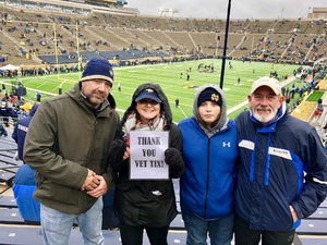 Abbie attended Notre Dame Fighting Irish vs. Navy - NCAA Football on Nov 18th 2017 via VetTix