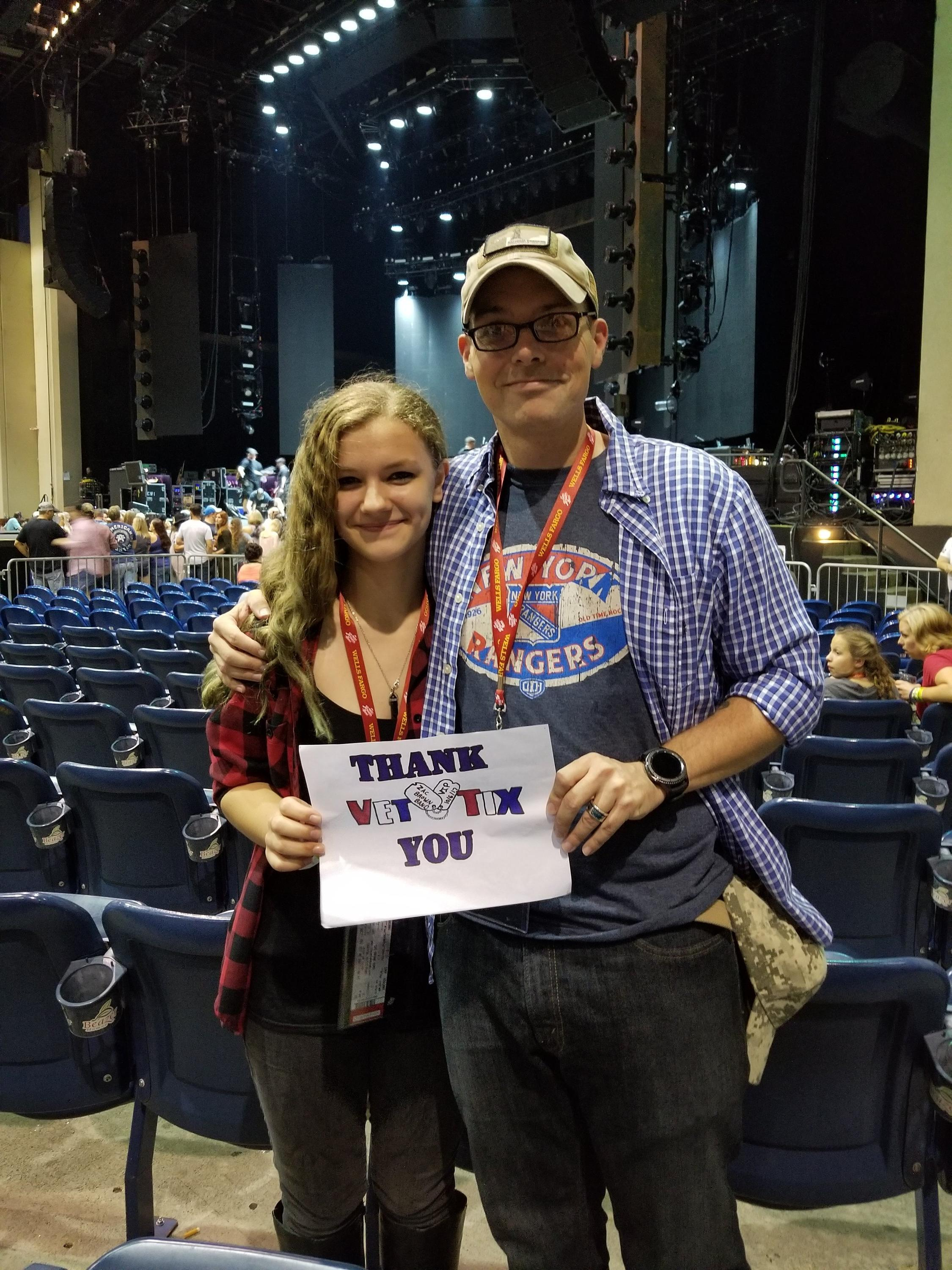 Thank you messages to veteran tickets foundation donors thomas attended zac brown band with special guest darrell scott wells fargo vip experience on m4hsunfo