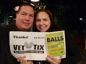 Glenn & Cindy attended Balls - for Mature Audiences - Presented by Stages Repertory Theatre on Oct 11th 2017 via VetTix