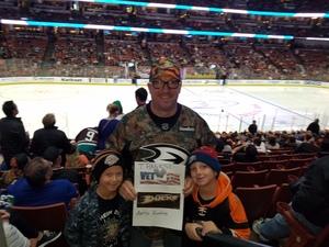 Joshua attended Anaheim Ducks vs. Vancouver Canucks - NHL - Military Appreciation Night! on Nov 9th 2017 via VetTix