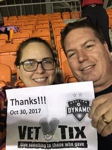 GLENN attended Houston Dynamo vs. Portland Timbers - Conference Semi-finals - MLS on Oct 30th 2017 via VetTix